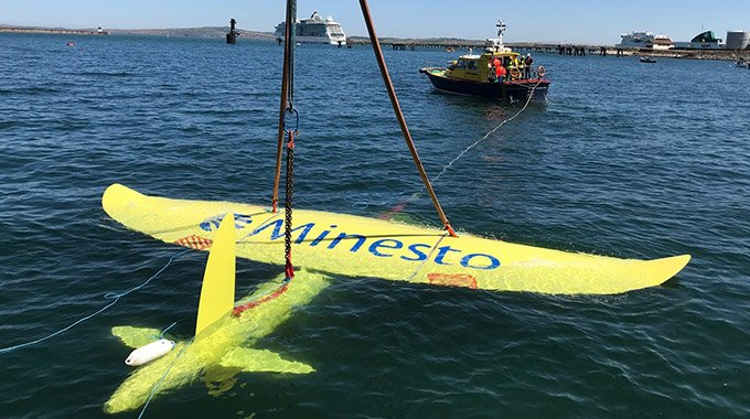 Minesto's marine energy converter DG500 undergoes sea trails in Holyhead Harbour, Nort West Wales. Photo: Minesto