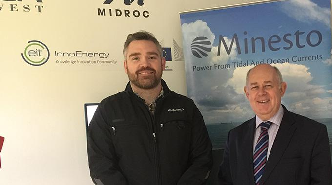 Ynys Môn MP Albert Owen visited Minesto for a update on the company's tidal energy project in North West Wales. Here with Osian Roberts, Business Developer at Minesto. Photo credit: Albert Owen/House of Commons