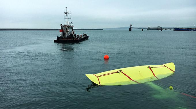 Picture of Minesto's commercial-scale size replica of its Deep Green tidal energy converter.