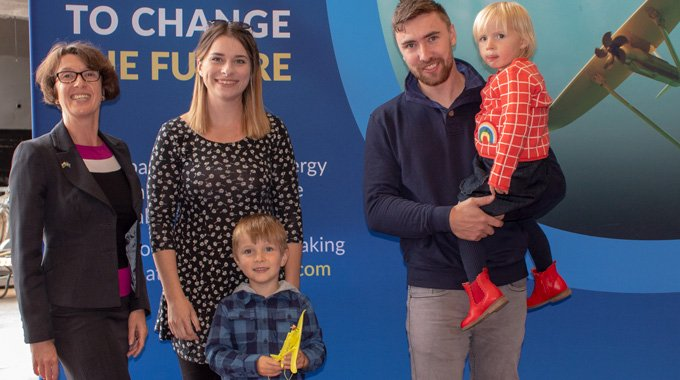 Louise Marsden, Minesto and Iwan and Elsie with family, winners of the kite naming competetion at the Unveiling Event of Minesto's first utility-scale device in Holyhead, Wales.