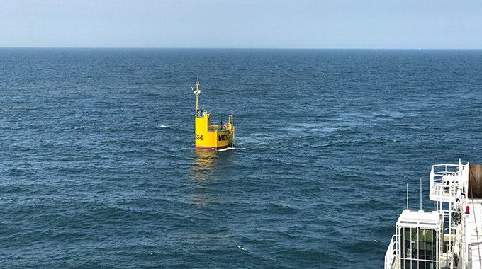 Minesto's micro grid system buoy installed at the Holyhead Deep site off North West Wales. Photo: David Collier/Minesto