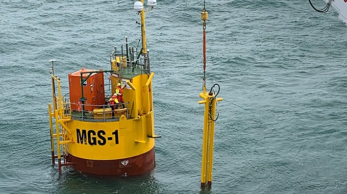 Components connecting the MGS buoy and the umbilical cable are installed. Photo: David Collier.